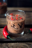 Chocolate mousse with chili pepper Royalty Free Stock Images