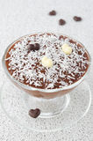 Chocolate mousse with chocolate hearts decorated with coconut Royalty Free Stock Images