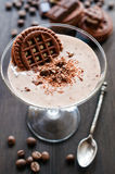 Chocolate mousse with cocoa cookies Stock Image