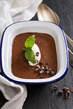 Chocolate mousse with cream Royalty Free Stock Photos