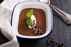 Chocolate mousse with cream Stock Images
