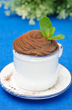 Chocolate mousse in a cup decorated with mint closeup Royalty Free Stock Image