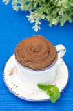 Chocolate mousse in a cup and sprig of mint, top view Stock Photo