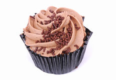 Chocolate mousse cupcake royalty free stock image