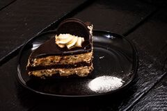 Chocolate mousse dessert. Chocolate cake