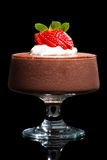 Chocolate mousse dessert with strawberries Stock Images