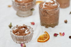 Chocolate mousse. In different glass capacities Royalty Free Stock Photography