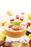 Chocolate mousse with fruits Royalty Free Stock Photos