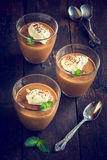 Chocolate mousse in the glasses Stock Photos