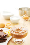 Chocolate mousse with ingredients Royalty Free Stock Photos