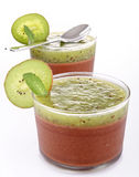 Chocolate mousse and kiwi Stock Photography