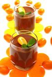 Chocolate mousse with kumquat. Royalty Free Stock Image
