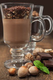 Chocolate mousse with nuts Royalty Free Stock Images
