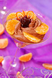 Chocolate mousse with oranges Royalty Free Stock Images