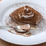 Chocolate mousse portion  in white plate Royalty Free Stock Photo