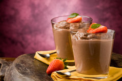 Chocolate Mousse - Pudding Stock Photo