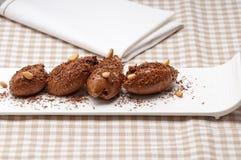 Chocolate mousse quenelle dessert Stock Photo