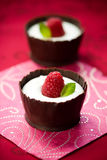 Chocolate mousse with raspberry Stock Image