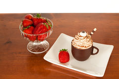 Chocolate Mousse and Strawberries Royalty Free Stock Photography