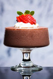 Chocolate mousse with strawberries and cream Royalty Free Stock Photos