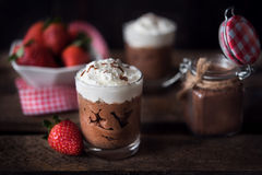 Chocolate mousse with strawberries Stock Photo