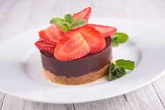 Chocolate mousse and strawberry Stock Photography