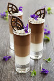 Chocolate mousse with three kinds of chocolate Royalty Free Stock Images