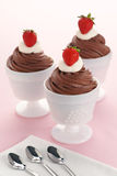 Chocolate Mousse with Whipped Cream and Strawberries Royalty Free Stock Image