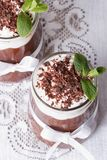 Chocolate mousse with whipped cream vertical top view Stock Image