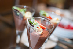 Chocolate mousse in a wine glass with strawberry Royalty Free Stock Photo