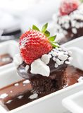 Chocolate mudcake with strawberry Stock Photo