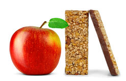 Chocolate Muesli Bars with apple isolated Royalty Free Stock Image