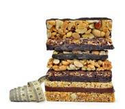 Chocolate Muesli Bars with measuring tape Stock Photos