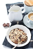 Chocolate muesli with milk Royalty Free Stock Images