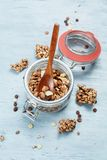Chocolate muesli and nuts Stock Image