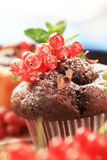 Chocolate muffin. Topped with a sprig of red currant Royalty Free Stock Photography