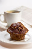 Chocolate Muffin. With cup of coffee Stock Images