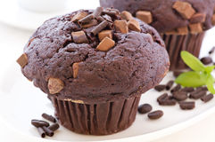 Chocolate Muffin. On a white plate Royalty Free Stock Photo