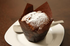 Chocolate muffin. A picture of a chocolate muffin covered with icing sugar and served on a white plate Stock Photos