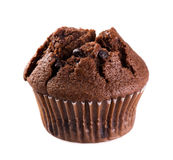 Chocolate muffin. Isolated on white background Stock Photos