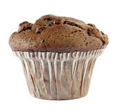 Chocolate muffin. A chocolate muffin isolated against a white background Stock Photos
