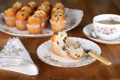 Chocolate Muffin for Afternoon Tea. Afternoon tea in England with chocolate muffins and a nice cup of tea stock photography