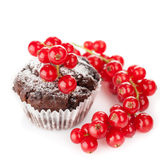 Chocolate muffin with berries Stock Image