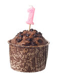 Chocolate muffin with birthday candle. For one year old isolated on white background Royalty Free Stock Photo