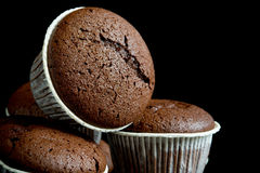 Chocolate muffin on black background Royalty Free Stock Photos