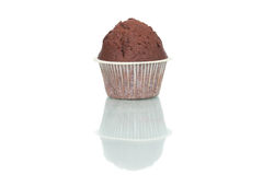 Chocolate muffin cake isolated on white background. Delicious Royalty Free Stock Image