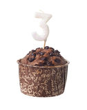 Chocolate muffin with candle for three year old. Chocolate muffin with birthday candle for three year old isolated on white background Stock Images