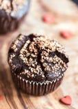 Chocolate muffin with caramel Stock Photos