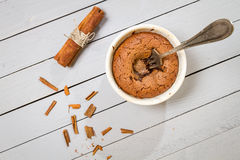 Chocolate muffin with cinnamon with the fork Royalty Free Stock Photos