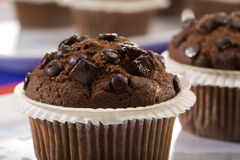 Chocolate muffin close-up Stock Photos